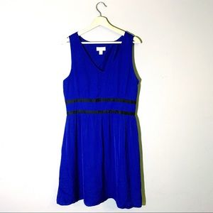 LOFT | Dress Sleeveless V-Neck Ribbon Waist 10